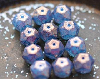 Last Listing - Wildest Dreams - Czech Glass Beads, Opal Blue, Amethyst Purple, English Cut Rounds 10mm - Pc 6