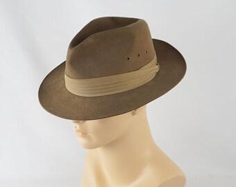 Vintage Taupe Beaver Fedora - Lionel Smith Ltd Sz 7