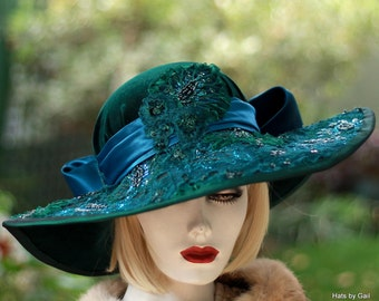 Elegant Elaborate Hat Vintage Style Wide Brim in Jewel Tone Emerald Green Velvet Sequins Beads Large Bow