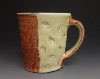 ON SALE  Coffee Mug with Yellow Glaze and Leaf Impression. Soda Fired Stoneware Pottery (#1)