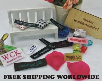 600 Custom letters Damask Woven Labels | custom made labels | sew on labels | garment labels | fabric label | apparel label | designer label