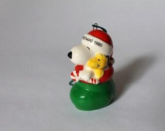 Rare Vintage Snoopy in Stocking Ceramic Ornament