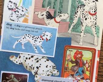 Dalmatian Vintage Dog and Puppy Collage, Scrapbook and Planner Kit Number 2071