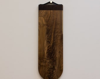 Burl Server - Figured Walnut Serving Board - Cutting Board - Handmade brass hanger with leather strap