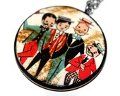 Vintage Barbershop Quartet Ephemera Necklace, Vintage Pendant, Wood, Kitsch, Retro, Advertising, Paper, Recycled Jewelry, Shabby Chic, Men