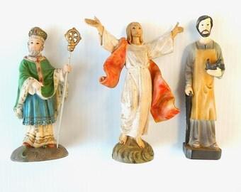 Set of 3 Miniature Catholic Christian Statues for Mini Garden Grotto, Altar, Religious Sculptures, St. Patrick, Jesus of Nazareth, Joseph