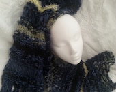 Blue green yellow soft hand knitting gift scarf wrap neck warmer