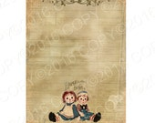 INSTANT DOWNLOAD  -Antique Altered Notebook Paper Raggedy Ann and Andy -  Digital Download -  Image- Digital - Images - Original