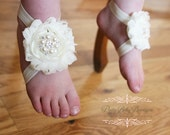Baby Barefoot Sandals- Photo Prop- Baby Blessing Baby Shoes- Baby Baptism Girl Sandals- Barefoot Sandals Ivory