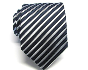 Mens Ties. Necktie Navy Blue Silver Stripes Silk Necktie