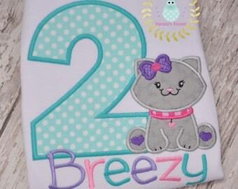 2nd birthday Kitty Shirt - 2nd Birthday Kittens - Birthday - Kitten - Kitty - Cats - appliqué shirt - Personalized - Monogrammed