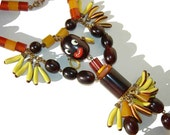 Vintage Josephine Baker Bakelite Necklace Beaded Banana Dance Pendant BOOK PIECE