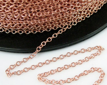 Rose Gold Chain, Rose Gold plated Sterling Silver Cable Chain-Wholesale Bulk Chain, 2.2mm Strong Cable Chain (20 feet-10%off )SKU: 101019-RG