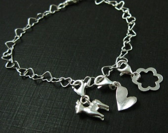 Sterling Silver Charm Bracelet - Heart Shape Charm Bracelet - Choose your Charms - Customized Charm Bracelet - Sku: 691037