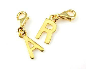 bracelet charms gold plated sterling silver charm bracelet charms initialletter charms gold alphabet charms charms with clasp sku291057 vm
