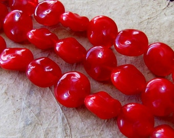 Red Glass Czech, 3 Strands 48 Beads, 12mm 13mm, Warbled Flat, Necklace Bracelet Earring, Clearance Closeout Sale Destash, Britz Beads Supply