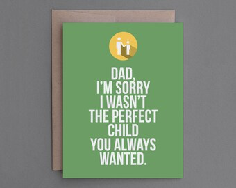 """Funny Father's Day Card. For Dad, Father, Pop. Humor, Humorous, Snarky, Sarcastic, Unique, Hilarious. """"Disappointment"""" (CSF01)"""