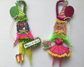Long Haired Dachshund BIRTHDAY ornaments DOG ornaments vintage style chenille ORNAMENTS set of 2