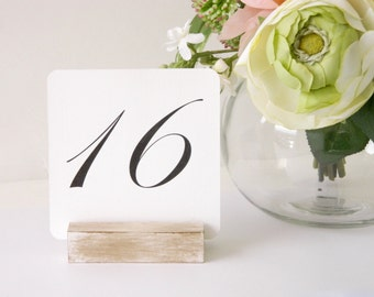 Table Number Holder + White Distressed Table Number Holders (Set of 10)