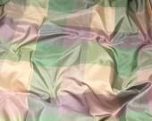 Peach Lilac & Green Check Silk TAFFETA Fabric - fat 1/4