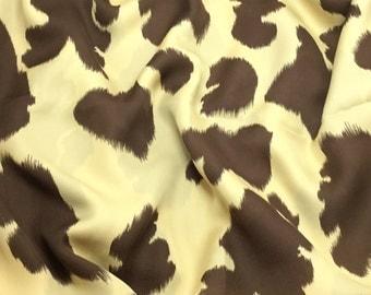 Silk Chiffon Fabric - Beige & Brown Cowboy Cow Spots - 1/3 Yard Remnant