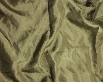 OLIVE GREEN China Silk HABOTAI Fabric - 1/2 Yard