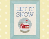 Let it Snow. Red Wintery House Snowglobe Cross Stitch PDF Pattern