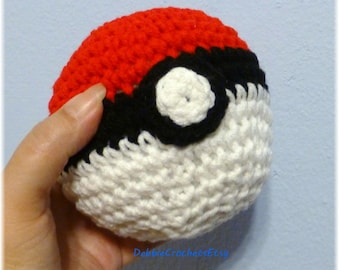 Red White Black Soft Ball Pokemon Inspired 13 inches