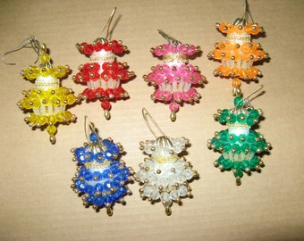 Vintage set of 7 fancy plastic bejeweled beaded christmas ornaments from the 1960's