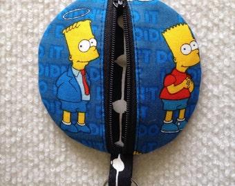 Circle earbud zippy zip pouch coin purse Bart Simpson print