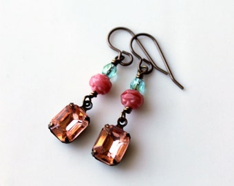 Peach Jewel Earrings / Peach Pink Rhinestone Earrings / Rosaline Petites Vintage Jewel / Peach Pink Aqua / Summer Dress Drop Earrings
