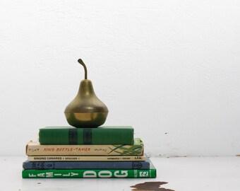 vintage brass pear trinket dish / vintage brass jewelry box