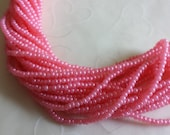 New Item -- One hank of Czech Terra Pearl Opal Rose Pink seed beads - 1312 size 11