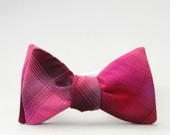 fuchsia, eggplant, and maroon plaid bow tie // self tie plaid bow tie //  unisex wine bow tie