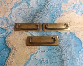 SALE! 3 vintage wide brass metal rectangle pull handles