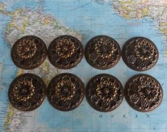 SALE! 8 ornate round flower shape vintage brass metal knobs with large trimplates