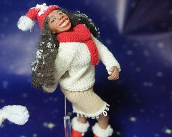 OcToBeR SaLe  Christmas Winter Girl - ooak dollhouse miniature figure / doll by CWPoppets