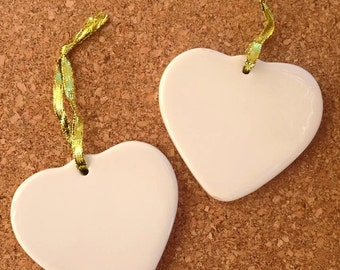 2 HEARTS Love Porcelain Ornaments 3.5 Inches Blank  Decor Party Favors DIY Keepsakes