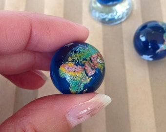 2 World Earth Glass Marbles Continents  23mm Atlas Travel  Colored Clear Transparent Blue