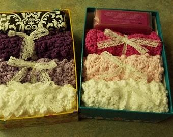 Hand crochet wash cloth and soap set
