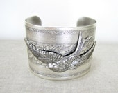 Sparrow Bracelet, Bird Cuff, Silver Cuff Bracelet, Lotus Bracelet, Wide Cuff Bracelet