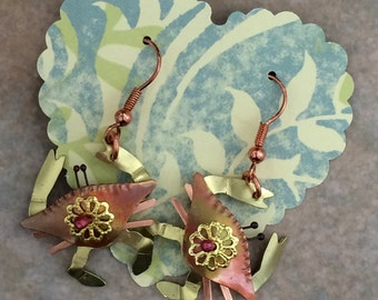 Copper and brass crab earrings