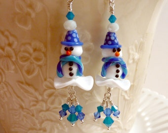 Snowmen in the Snow Earrings, Winter Earrings, Handmade Lampwork, Sterling Silver Long Dangle