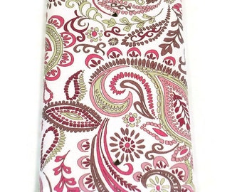 Blank Light Switch Cover Wall Decor   Switchplate Cover  in  Pink Paisley  (099B)