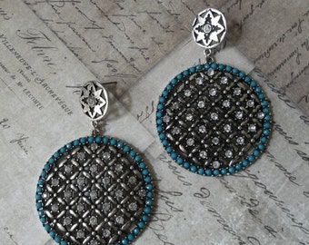 CLEARANCE Faux Turquoise Stone Shield Earrings And Antiqued Silver Metalwork With White Rhinestones, Modern Southwest Inspired & BoHo Chic