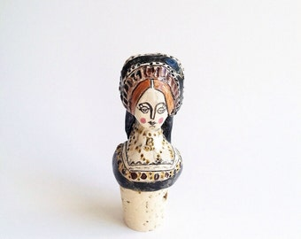 Anne Boleyn wine bottle stopper handmade ceramic miniature portrait sculpture