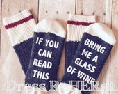 Wine Socks  If you can read this bring me a glass of wine charcoal grey wool socks