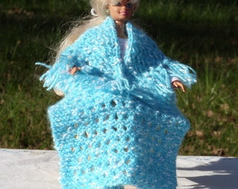 Barbie Knitted 3 Piece Set- Patterned Shawl with Fringe on Bottom Edge - Patterned Afghan - Tube Slipper Socks - Aqua and White Nuby Yarnd