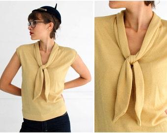 Vintage 1950s Gold Metallic Lurex Sleeveless Sweater with Neck Tie   Medium/Large