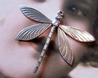 Sterling Silver Ox Plated Brass LARGE Dragonfly Pendant 2212SOX x1